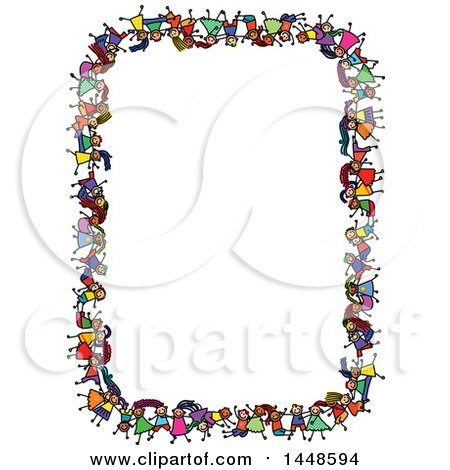 Clipart of a Border Rame of Doodled Sketch of Stick Children - Royalty Free Vector Illustration by Prawny