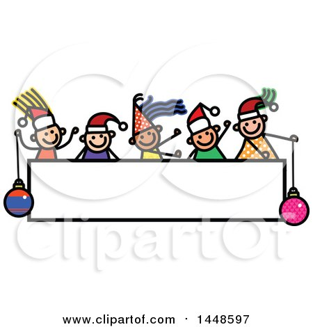 Clipart of a Doodled Sketch of Stick Children Wearing Santa Hats over a Sign - Royalty Free Vector Illustration by Prawny