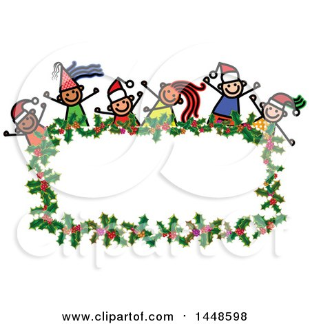 Clipart of a Doodled Sketch of Stick Children Wearing Santa Hats and Partying over a Christmas Holly Frame - Royalty Free Vector Illustration by Prawny