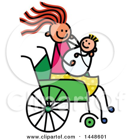 Clipart of a Doodled Sketch of a Handicap Stick Girl Holding a Baby Sibling, or Mother Holding Child, in a Wheelchair - Royalty Free Vector Illustration by Prawny