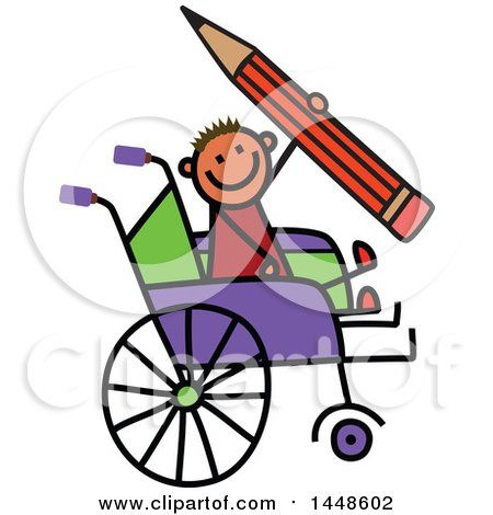 Clipart of a Doodled Sketch of a Handicap Stick Boy Holding a Giant Pencil in a Wheelchair - Royalty Free Vector Illustration by Prawny