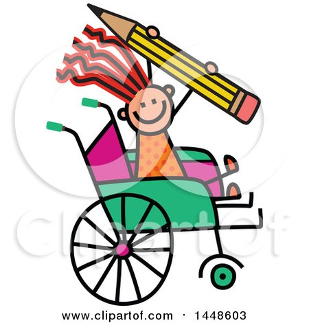 Clipart of a Doodled Sketch of a Handicap Stick Girl Holding a Giant Pencil in a Wheelchair - Royalty Free Vector Illustration by Prawny