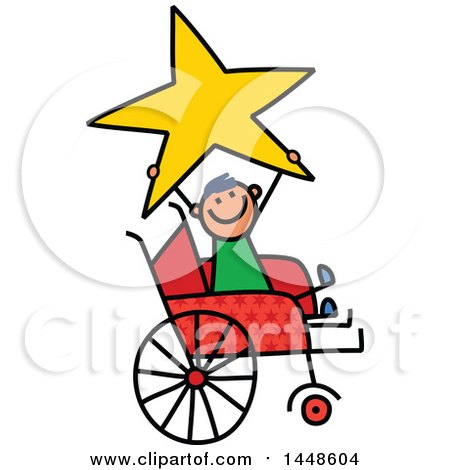Clipart of a Doodled Sketch of a Handicap Stick Boy Holding up a Star in a Wheelchair - Royalty Free Vector Illustration by Prawny