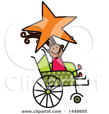 Clipart of a Doodled Sketch of a Handicap Stick Girl Holding up a Star in a Wheelchair - Royalty Free Vector Illustration by Prawny