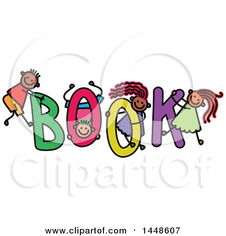 Clipart of a Doodled Sketch of Stick Children Playing on the Word Book - Royalty Free Vector Illustration by Prawny