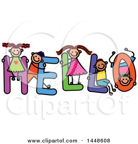 Clipart of a Doodled Sketch of Stick Children Playing on the Word Hello - Royalty Free Vector Illustration by Prawny