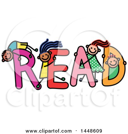 Clipart of a Doodled Sketch of Stick Children Playing on the Word Red - Royalty Free Vector Illustration by Prawny