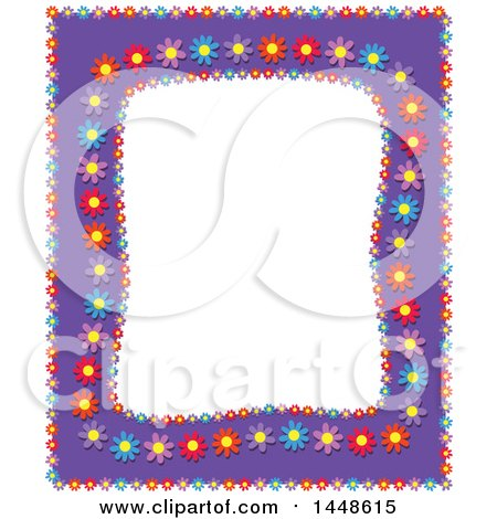 Clipart of a Purple Frame with Colorful Daisy Flowers - Royalty Free Vector Illustration by Prawny