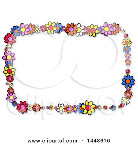 Clipart of a Rectangular Frame of Colorful Daisy Flowers - Royalty Free Illustration by Prawny