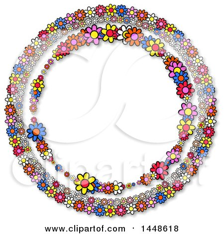 Clipart of a Round Frame of Colorful Daisy Flowers - Royalty Free Illustration by Prawny