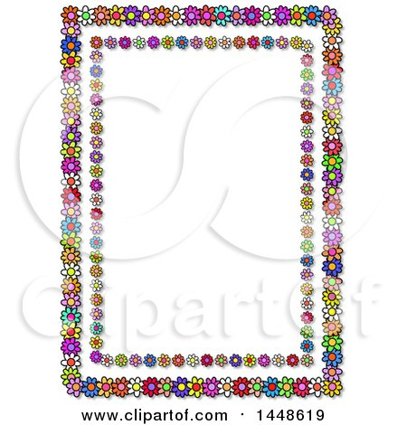 Clipart of a Frame of Colorful Daisy Flowers - Royalty Free Illustration by Prawny