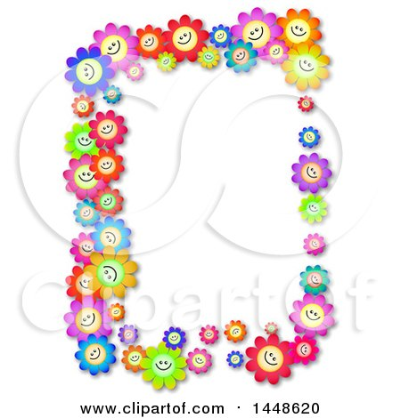 Clipart of a Border of Colorful Happy Daisy Flowers - Royalty Free Illustration by Prawny