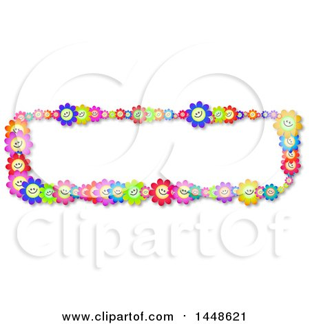 Clipart of a Border of Happy Colorful Daisy Flowers - Royalty Free Illustration by Prawny