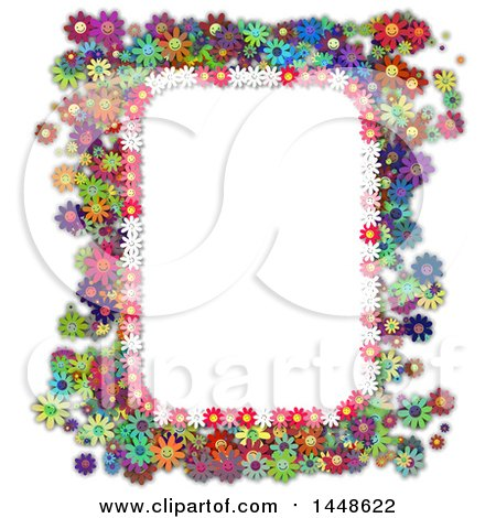 Clipart of a Border Frame of Colorful Daisy Flowers - Royalty Free Illustration by Prawny