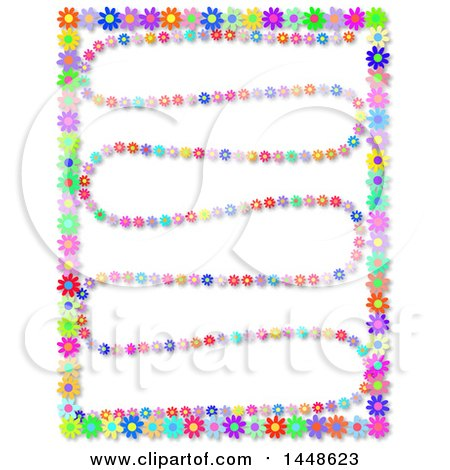 Clipart of a Border and Zig Lines of Colorful Daisy Flowers - Royalty Free Illustration by Prawny