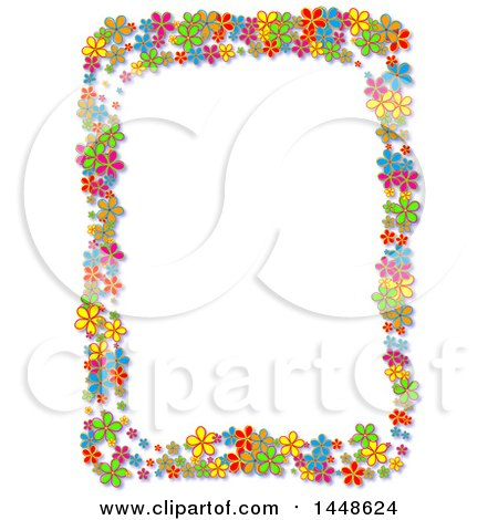 Clipart of a Border Frame of Bright Colorful Daisy Flowers - Royalty Free Illustration by Prawny