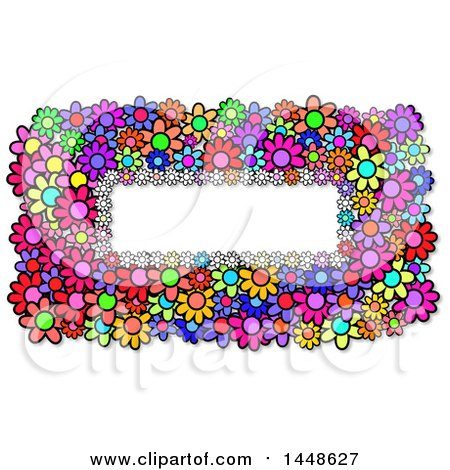 Clipart of a Border of Colorful Daisy Flowers - Royalty Free Illustration by Prawny