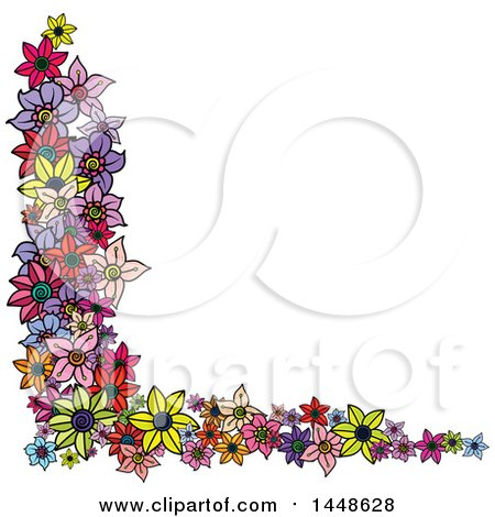 Clipart of a Corner Border Design Element of Colorful Flowers - Royalty Free Vector Illustration by Prawny