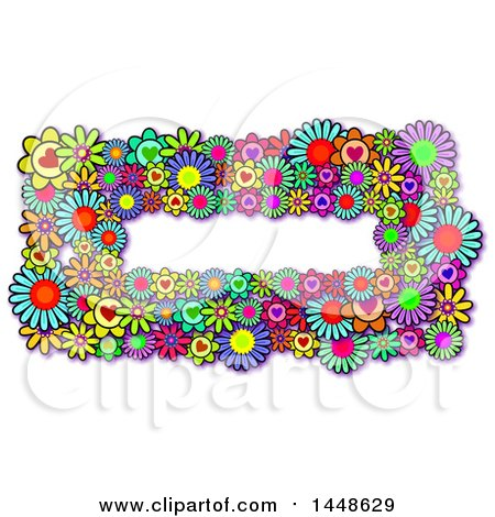 Clipart of a Border of Colorful Daisy Flowers and Hearts - Royalty Free Illustration by Prawny