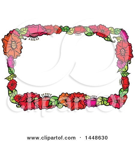 Clipart of a Border Frame of Flowers - Royalty Free Vector Illustration by Prawny