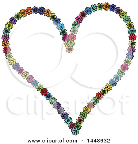 Clipart of a Heart Formed of Colroful Daisy Flowers - Royalty Free Vector Illustration by Prawny