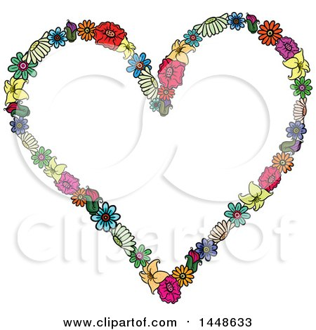 Clipart of a Heart Formed of Colroful Flowers - Royalty Free Vector Illustration by Prawny