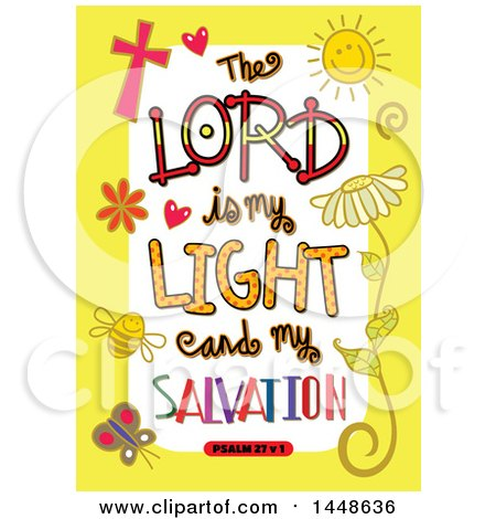 Clipart of Colorful Sketched Scripture the Lord Is My Light and My Salvation Text in a Yellow Border - Royalty Free Vector Illustration by Prawny