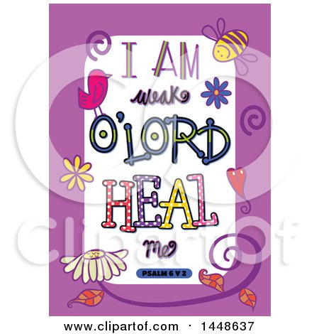 Clipart of Colorful Sketched Scripture I Am Weak O Lord Heal Me Text in a Purple Border - Royalty Free Vector Illustration by Prawny