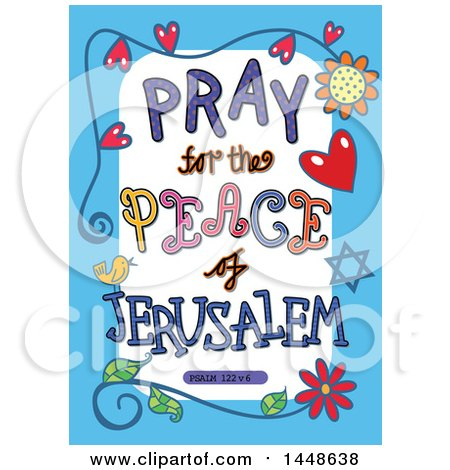 Clipart of Colorful Sketched Scripture Pray for the Peace of Jerusalem Text in a Blue Border - Royalty Free Vector Illustration by Prawny