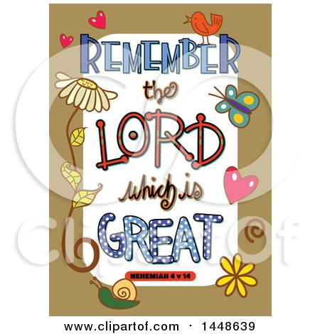 Clipart of Colorful Sketched Scripture Remember the Lord Which Is Great Text in a Tan Border - Royalty Free Vector Illustration by Prawny