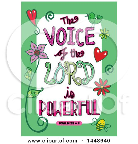 Clipart of Colorful Sketched Scripture the Voice of the Lord Is Powerful Text in a Green Border - Royalty Free Vector Illustration by Prawny