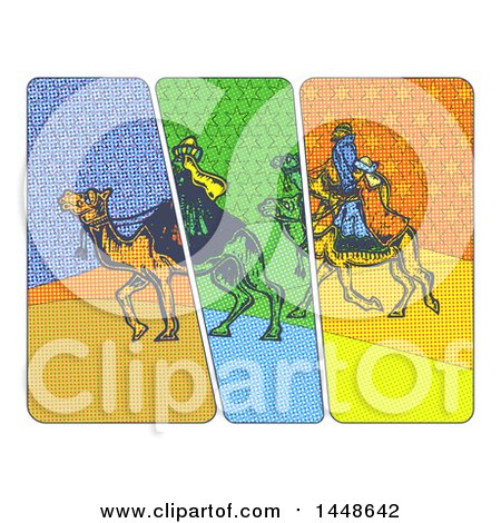 Clipart of the Magi Wise Men on Camels in Comic Style, on a White Background - Royalty Free Illustration by Prawny