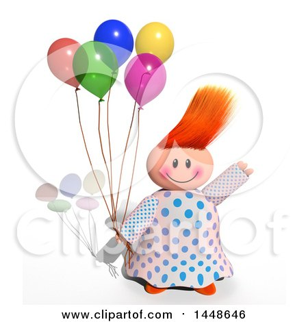 Clipart of a Happy Girl Holding Balloons, on a White Background with a Shadow - Royalty Free Illustration by Prawny