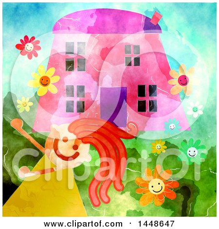 Clipart of a Happy Girl Playing Outsider Her Home - Royalty Free Illustration by Prawny