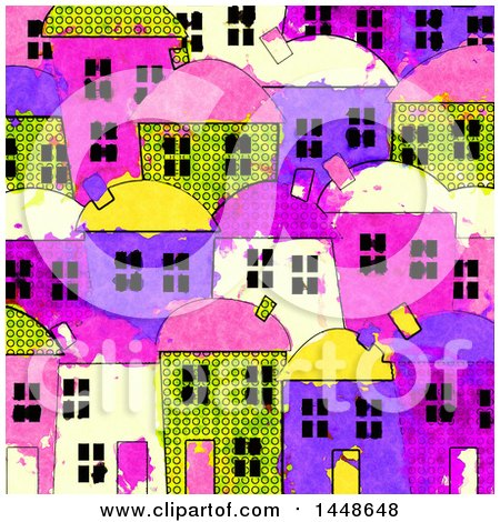 Clipart of a Background of Colorful Village Townhomes in Watercolor - Royalty Free Illustration by Prawny