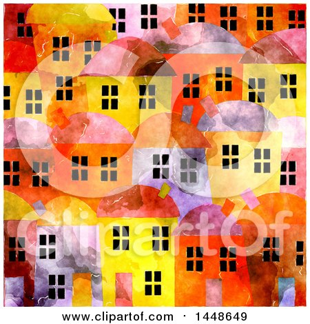 Clipart of a Background of Village Townhomes in Watercolor - Royalty Free Illustration by Prawny
