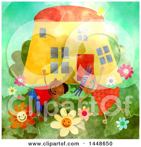 Clipart of a Happy Boy and Girl Playing Outsider Their Home - Royalty Free Illustration by Prawny