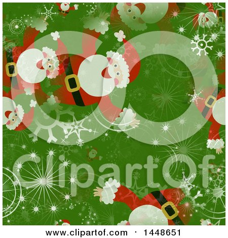 Clipart of a Seamless Christmas Pattern Background of Santa and Snowflakes on Green - Royalty Free Illustration by Prawny