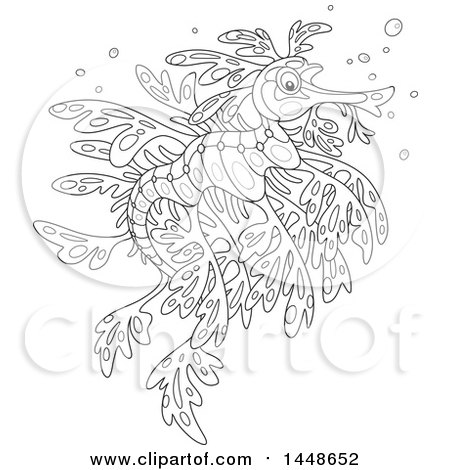 Clipart of a Cartoon Black and White Lineart Leafy Seadragon - Royalty Free Vector Illustration by Alex Bannykh