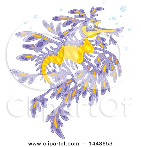 Clipart of a Purple and Yellow Leafy Seadragon - Royalty Free Vector Illustration by Alex Bannykh