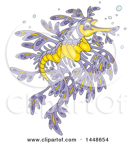 Clipart of a Cartoon Beautiful Purple and Yellow Leafy Seadragon - Royalty Free Vector Illustration by Alex Bannykh