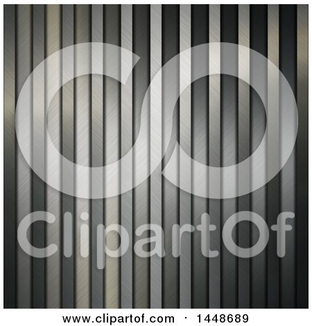 Clipart of a Vertical Metallic Steel Stripes Background - Royalty Free Illustration by KJ Pargeter