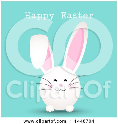 Clipart of a Happy Easter Greeting with a Cute White Bunny Rabbit on Turquoise - Royalty Free Vector Illustration by KJ Pargeter