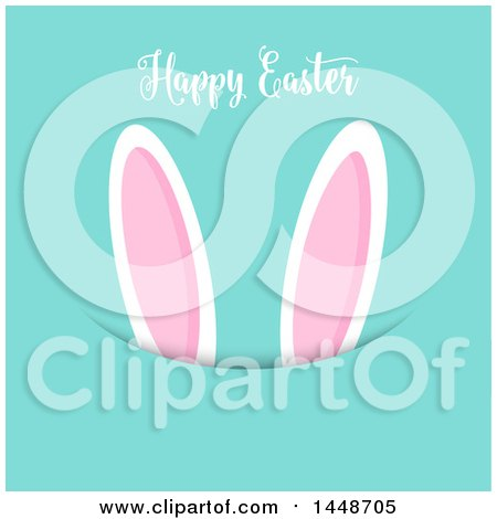 Clipart of a Happy Easter Greeting with Bunny Ears on Turquoise - Royalty Free Vector Illustration by KJ Pargeter