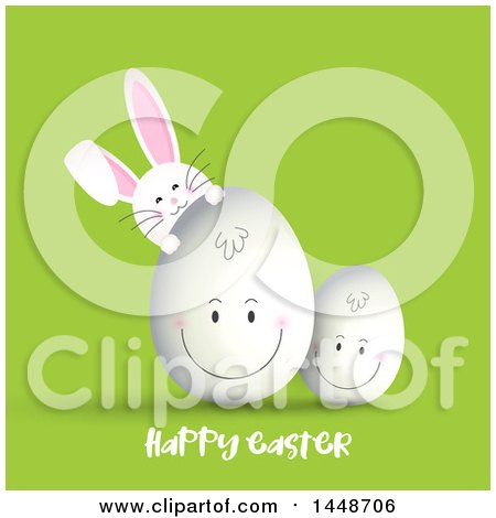 Clipart of a Happy Easter Greeting with a Cute White Bunny Rabbit and Smiling Eggs on Green - Royalty Free Vector Illustration by KJ Pargeter