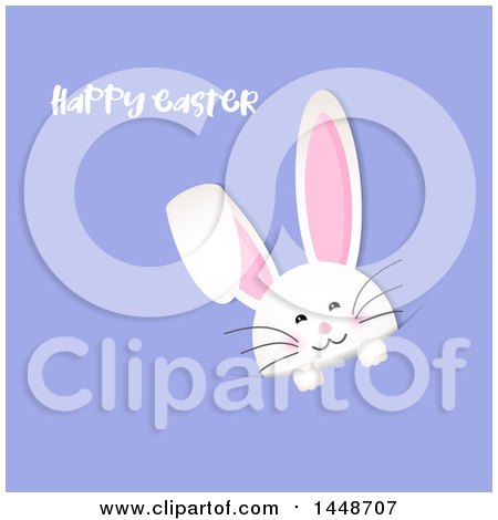 Clipart of a Happy Easter Greeting with a Cute White Bunny Rabbit Peeking from a Pocket on Purple - Royalty Free Vector Illustration by KJ Pargeter