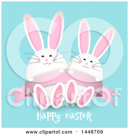 Clipart of a Happy Easter Greeting with Cute White Bunny Rabbits on Blue - Royalty Free Vector Illustration by KJ Pargeter