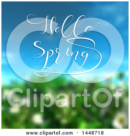 Clipart of a Blurred Bush and Blue Sky with Hello Spring Text - Royalty Free Vector Illustration by KJ Pargeter