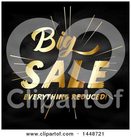 Clipart of a Golden Big Sale Everything Reduced Design on Blackboard - Royalty Free Vector Illustration by KJ Pargeter