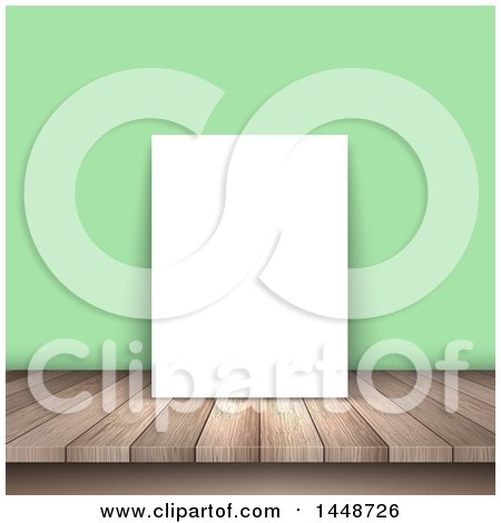 Clipart of a Blank Picture on a Wood Table, Leaning Against a Green Wall - Royalty Free Vector Illustration by KJ Pargeter